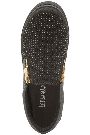 Krush Paris Slip On Zip Detail Pump