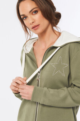 Star Print Zip Through Hoodie