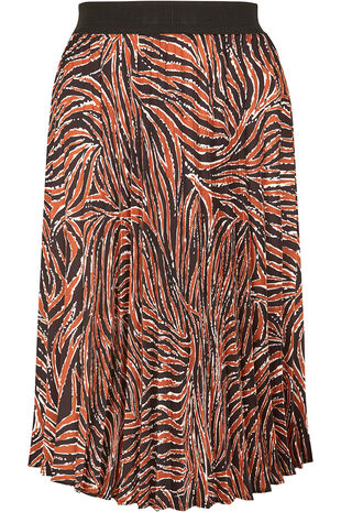 Grace By Eda Pleated Animal Print Skirt