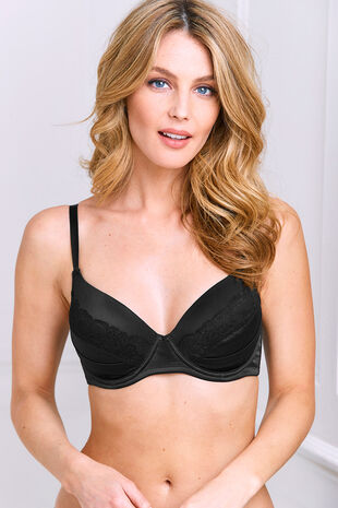Satin Pleats Underwired Bra