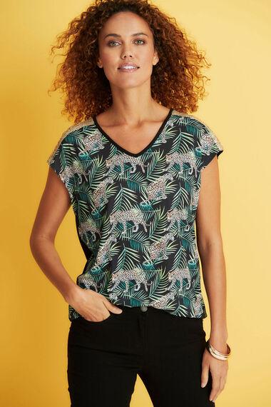 Leopard Print Sequin Shoulder T-Shirt