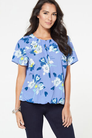 Floral Blouse With Keyhole And Button Design
