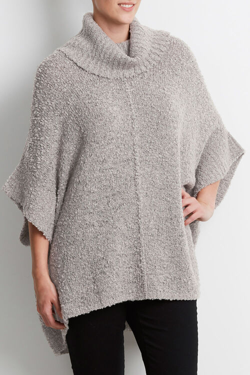 Boucle Cowl Neck Poncho