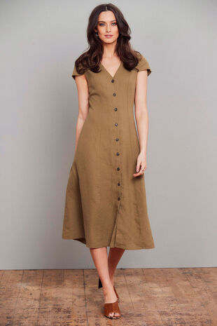 Salvari Linen Button Down Dress