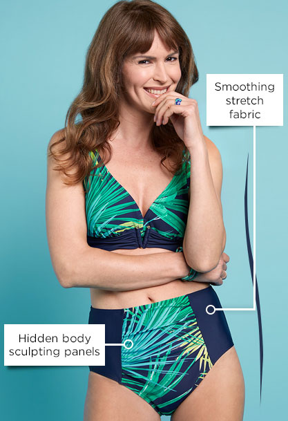 Hidden body sculpting panels - smoothing stretch fabric