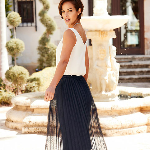 Lace Top Pleated Skirt