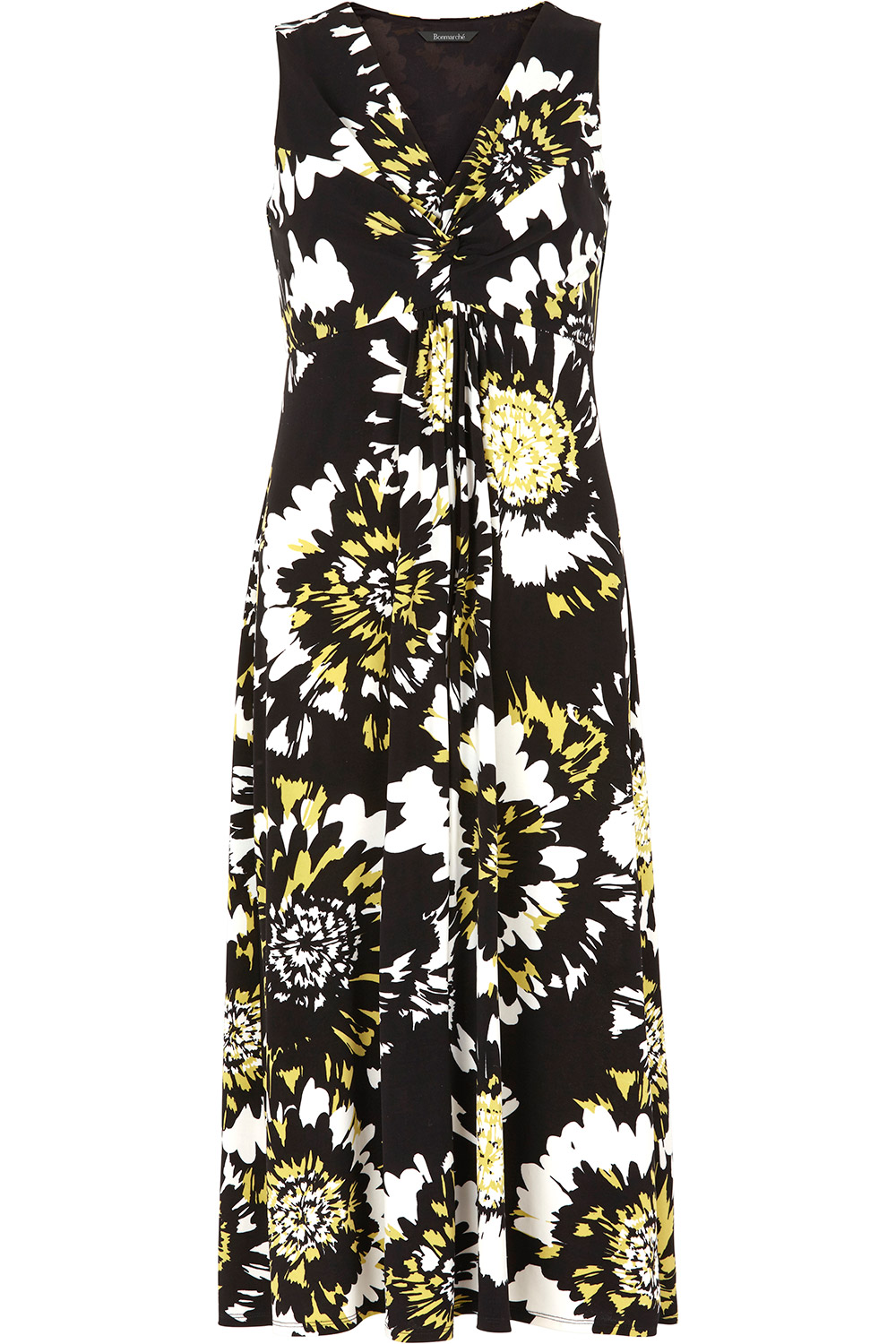ec86747655 Abstract Floral Knot Front Maxi Dress