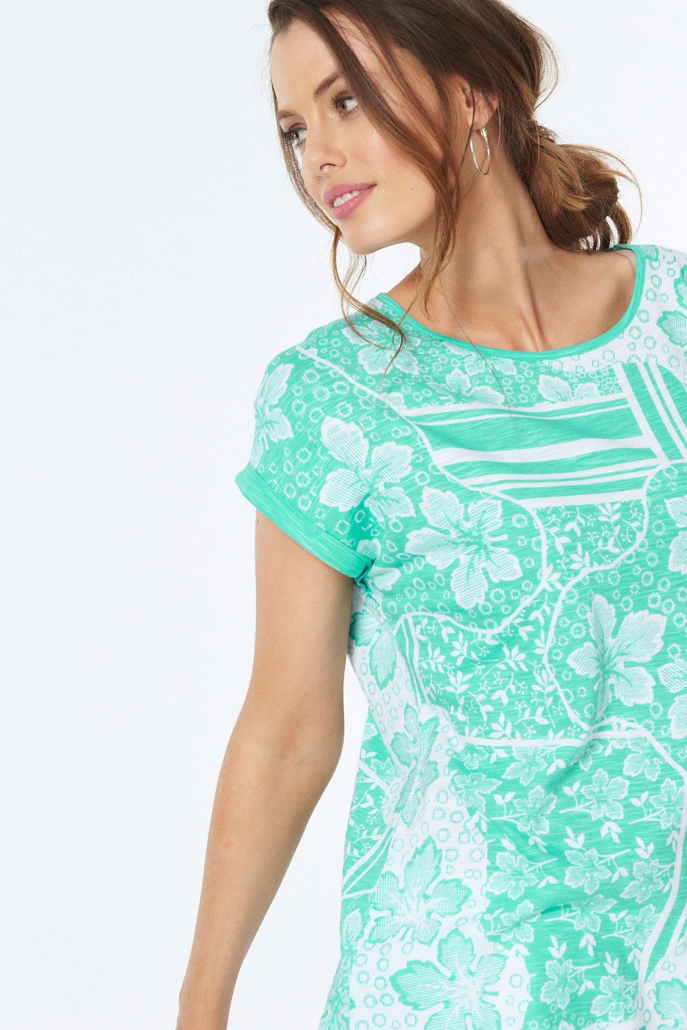 37182a994d0 All Over Floral and Stripe Print T-Shirt