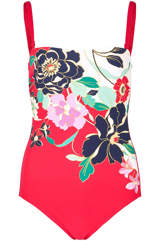 8798b596682fa Floral Placement Bandeau Swimsuit