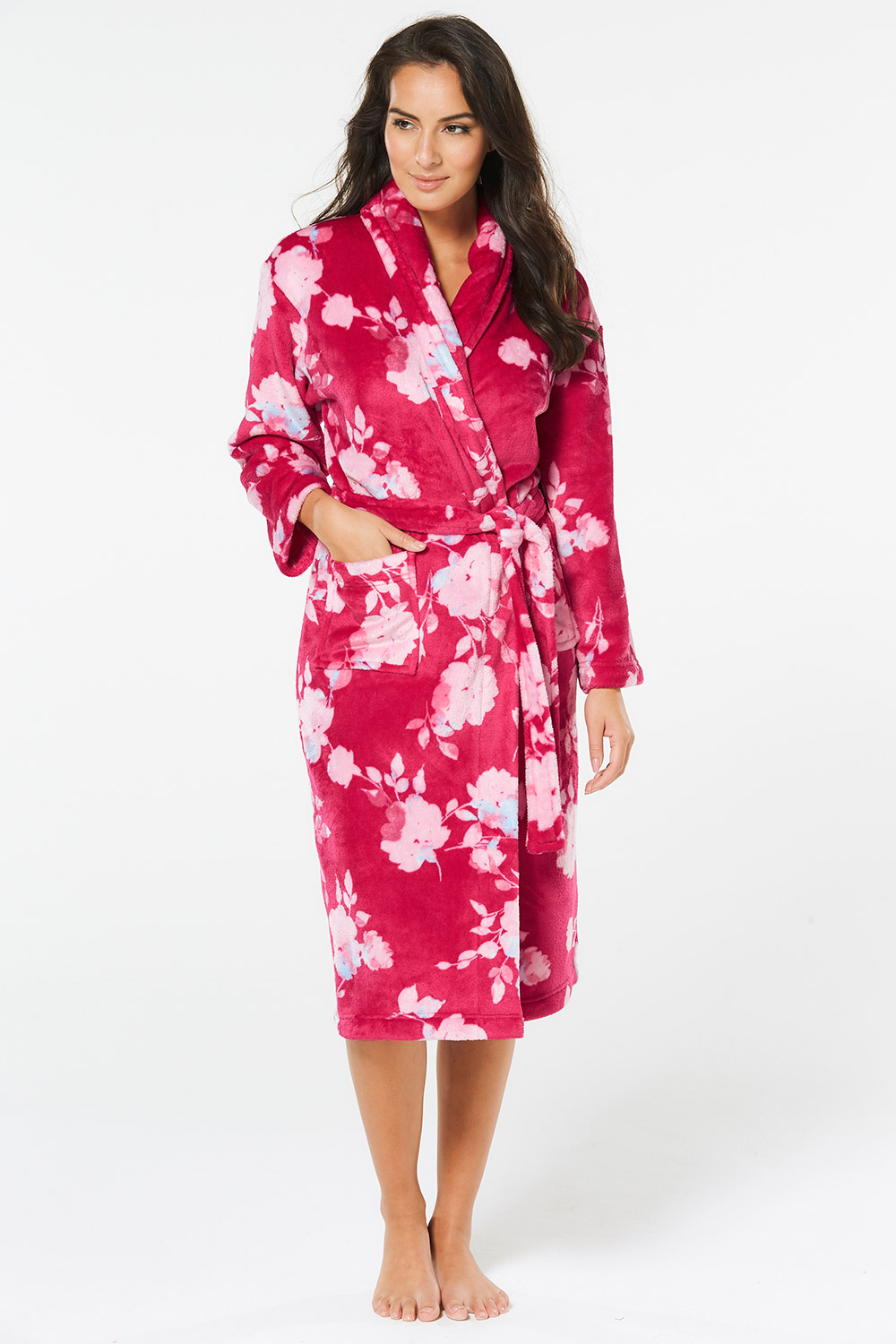 Floral Fleece Dressing Gown