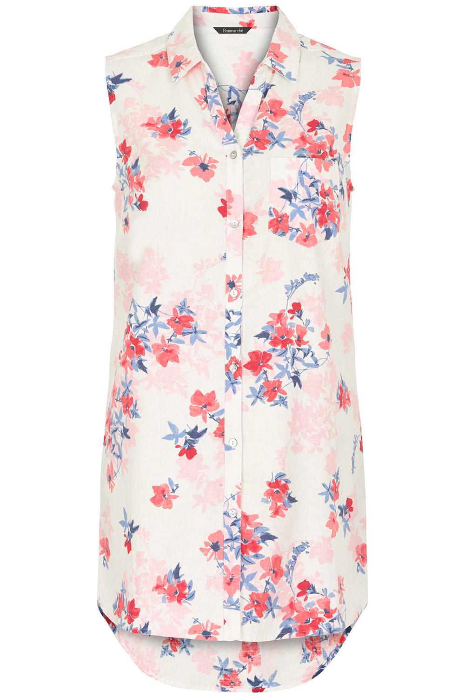 e4dc847d7c3 Floral Print Linen Blend Sleeveless Shirt