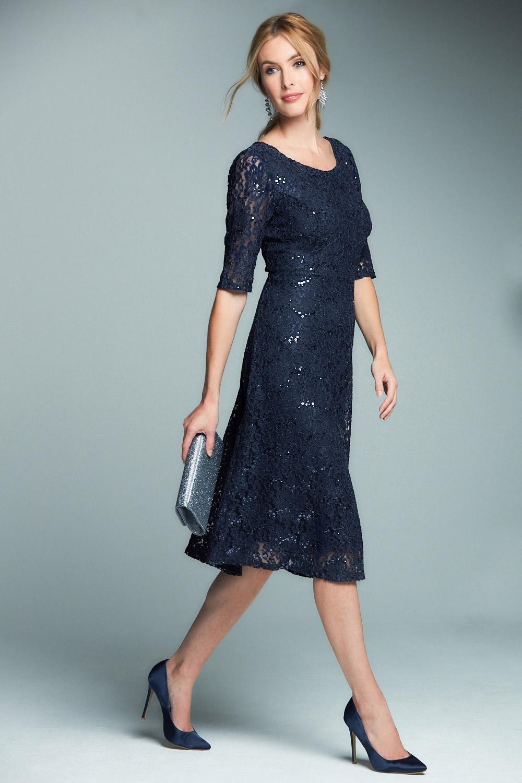 Short Sleeve Sequin Lace Dress