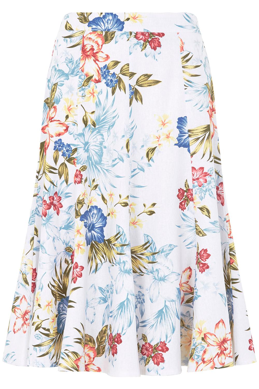 a4cfa96105f Printed Linen Blend Skirt