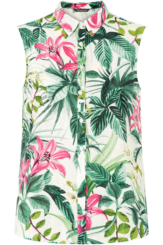 b5164be77a30d3 Sleeveless Tropical Print Shirt