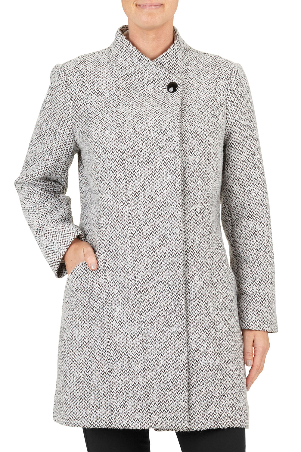 RRP £38 WOMEN`S BRAND NEW BON MARCHE LIGHT GREY COLLARED LINED COAT