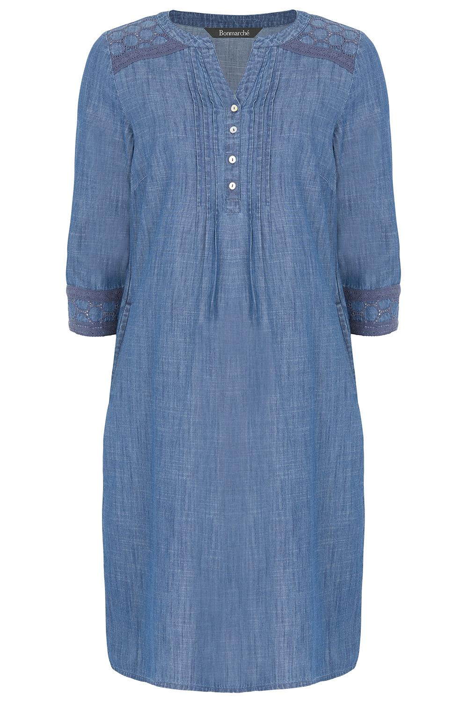 6cdcfcd1a55 Denim Dress with Broderie Trim