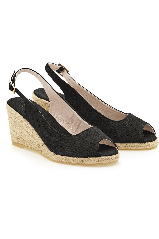 Sandal Grace Slingback Canvas Maya Toe Peep Wedge A3Rj5Lqc4S