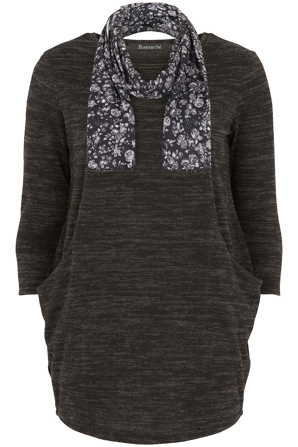 46e6e3f2135 Buy Plain Slouch Tunic With Floral Scarf | Home Delivery | Bonmarché